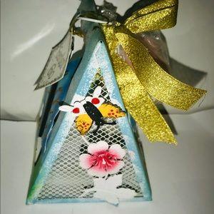 New Garden Glo Tea Light Holder Butterfly Flowers